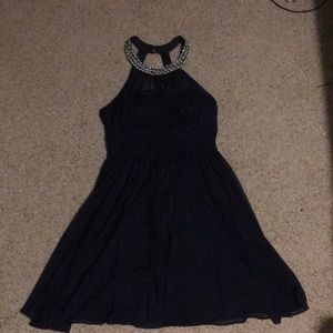 Navy blue dress with beaded collar
